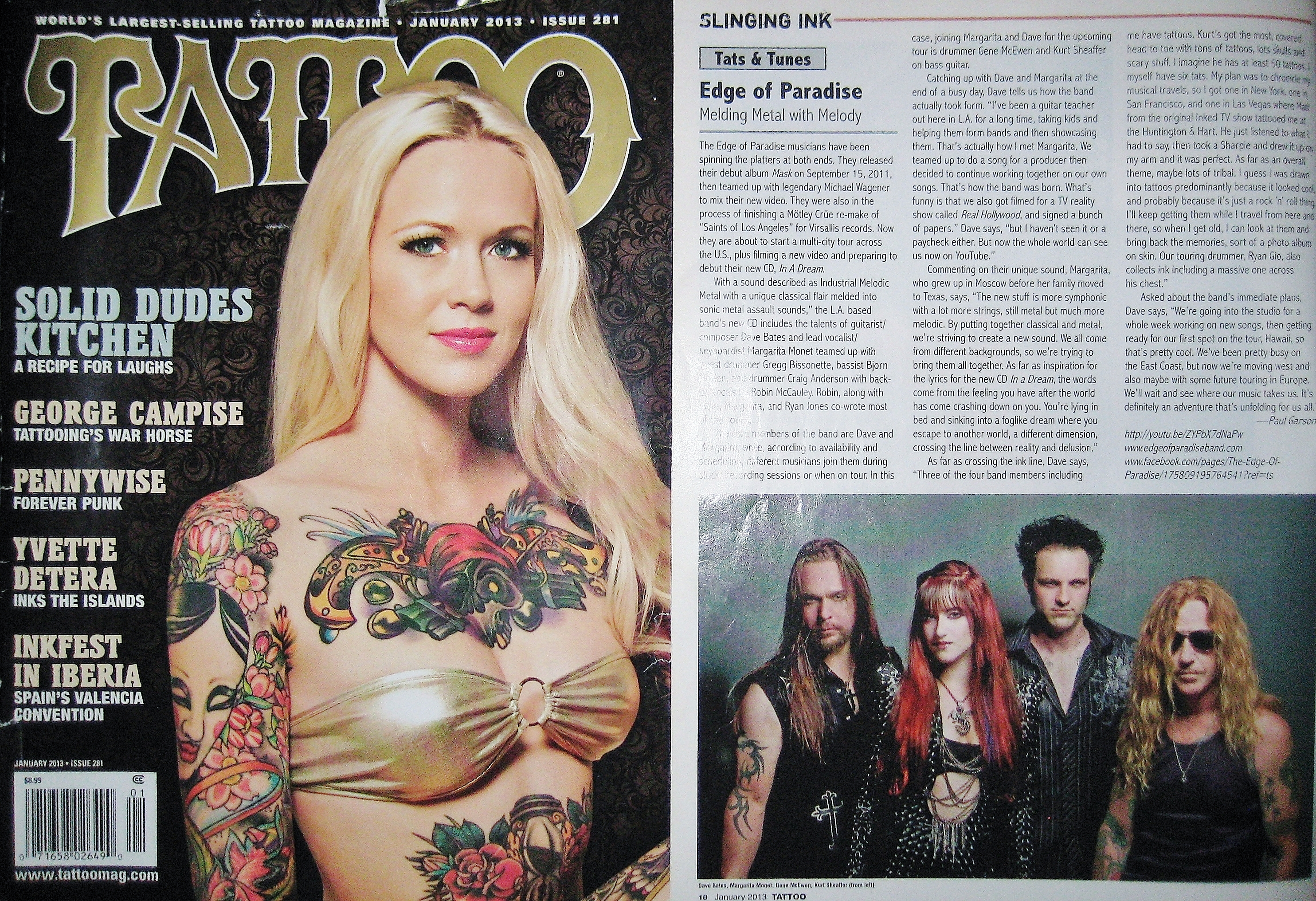 January 2013 Tattoo Magazine - EDGE OF PARADISE